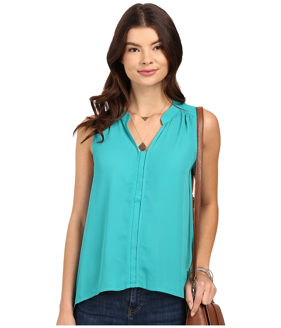 Jack by BB Dakota Adamma Crepe de Chine Collared Tank Top Emerald Green Womens Sleeveless
