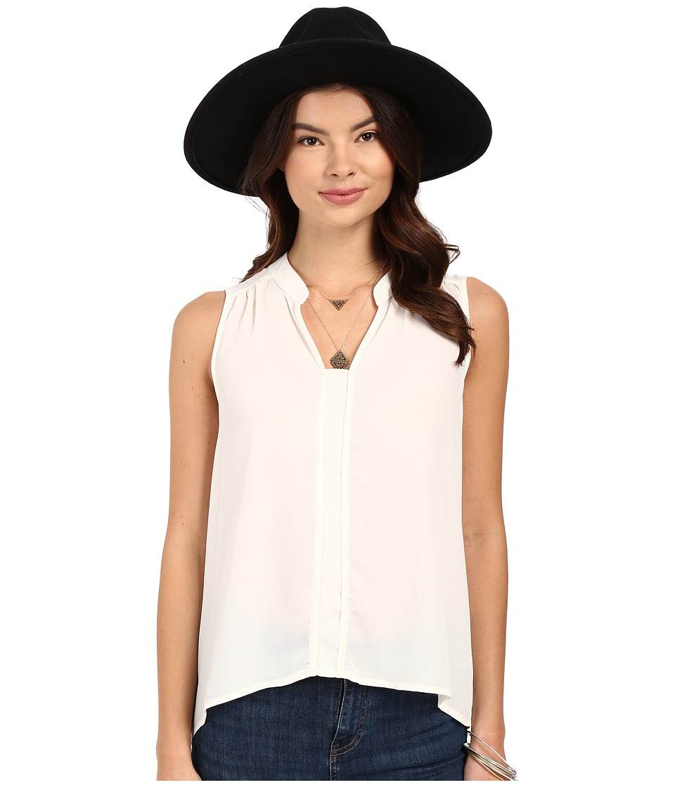 Jack by BB Dakota Adamma Crepe de Chine Collared Tank Top Ivory Womens Sleeveless