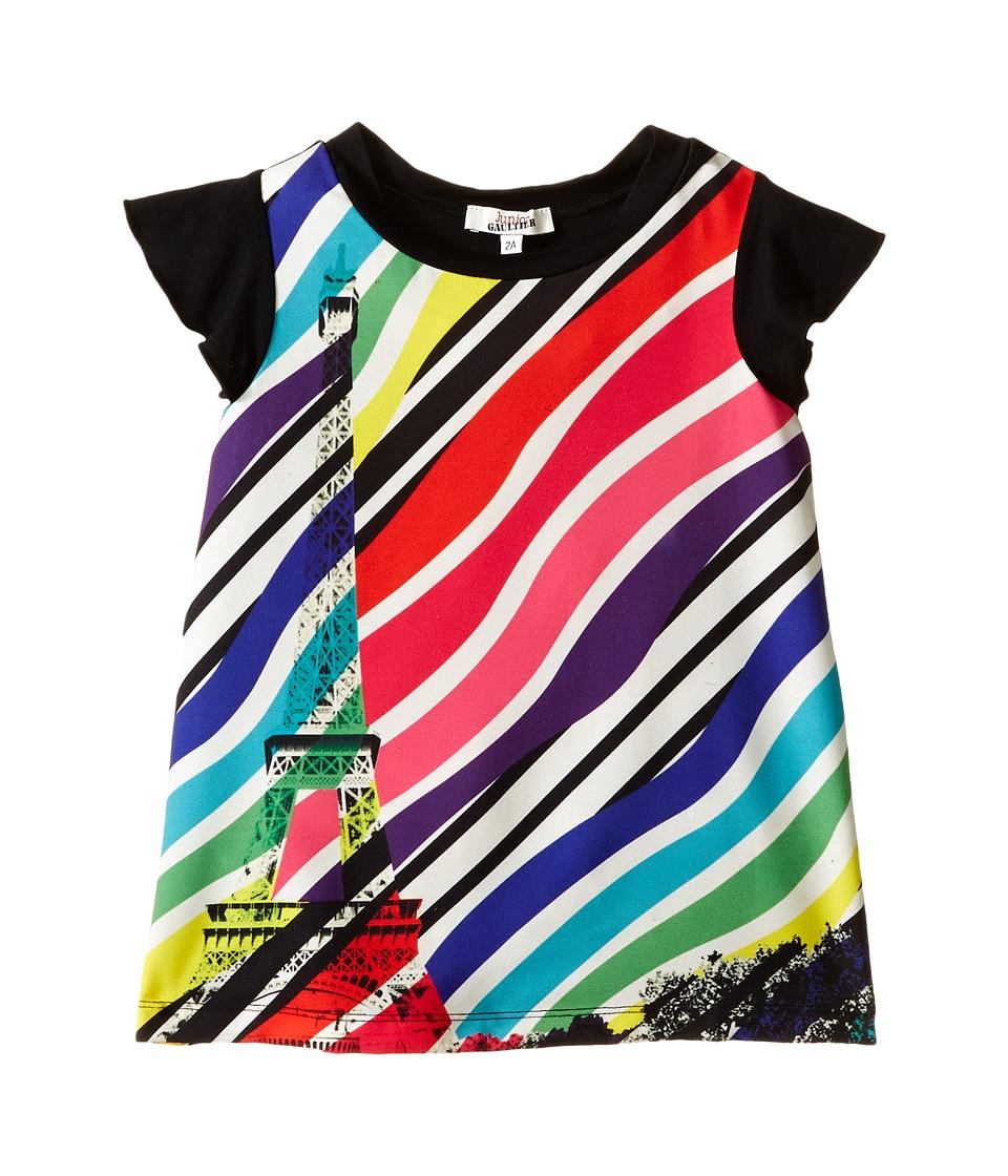 Junior Gaultier Sabha Striped Neon Dress Toddler/Little Kid Ecru Girls Dress