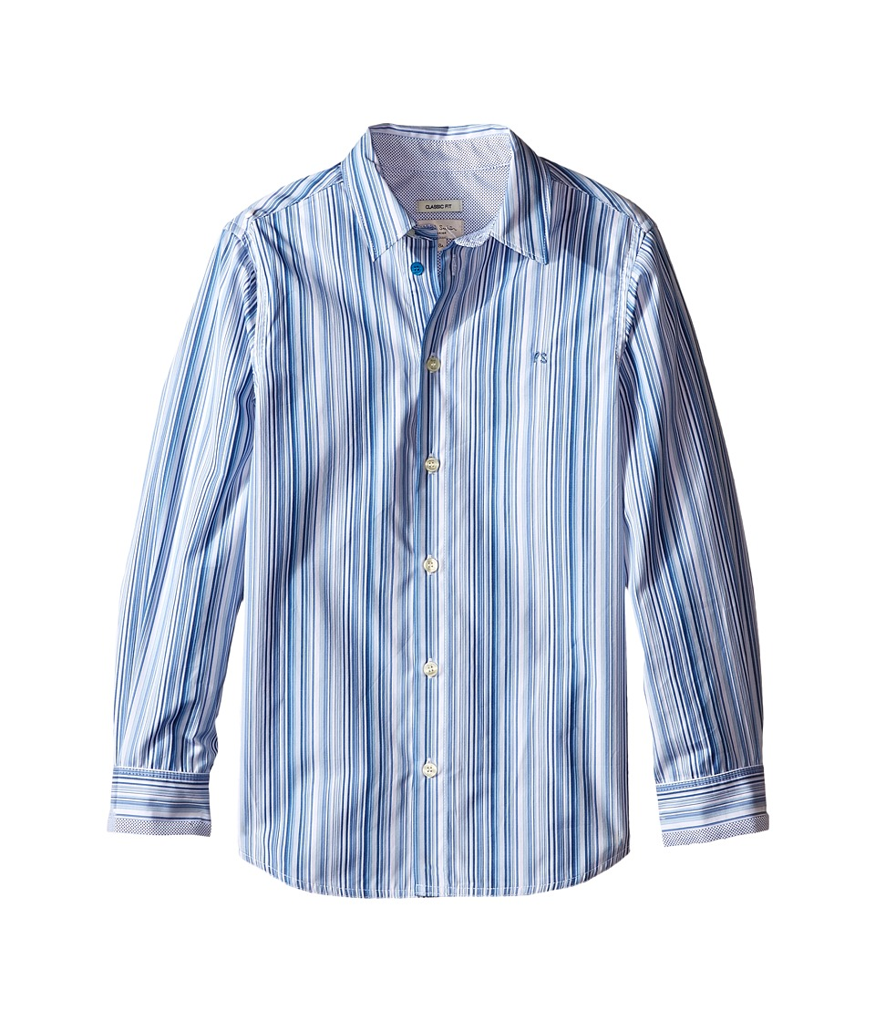 Paul Smith Junior Blue/White Striped Shirt Big Kids White Boys Clothing