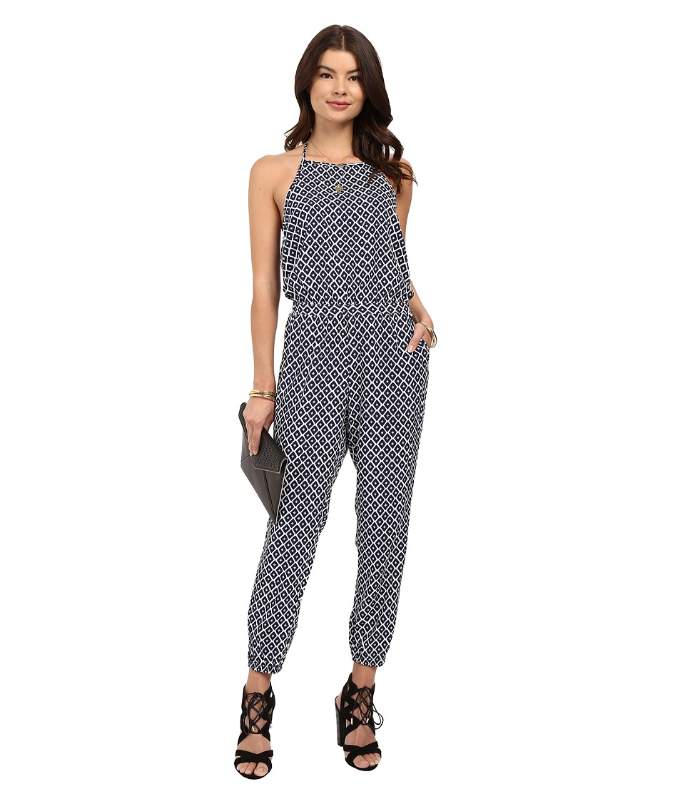 Jack by BB Dakota Brockton Printed Rayon Jumpsuit Multi Womens Jumpsuit Rompers One Piece