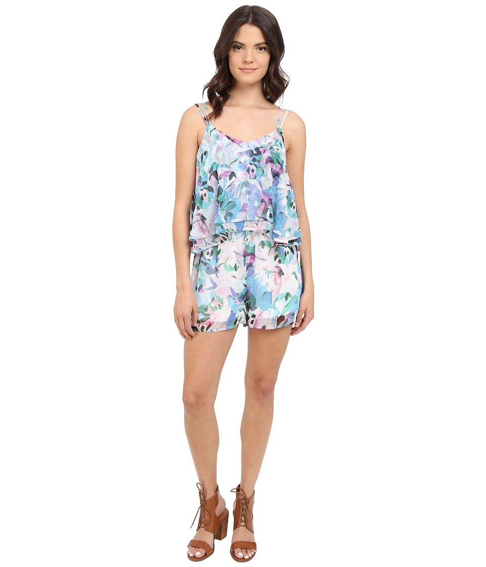 Jack by BB Dakota Aerona Floral Haze Printed Crinkle Chiffon Romper Multi Womens Jumpsuit Rompers One Piece