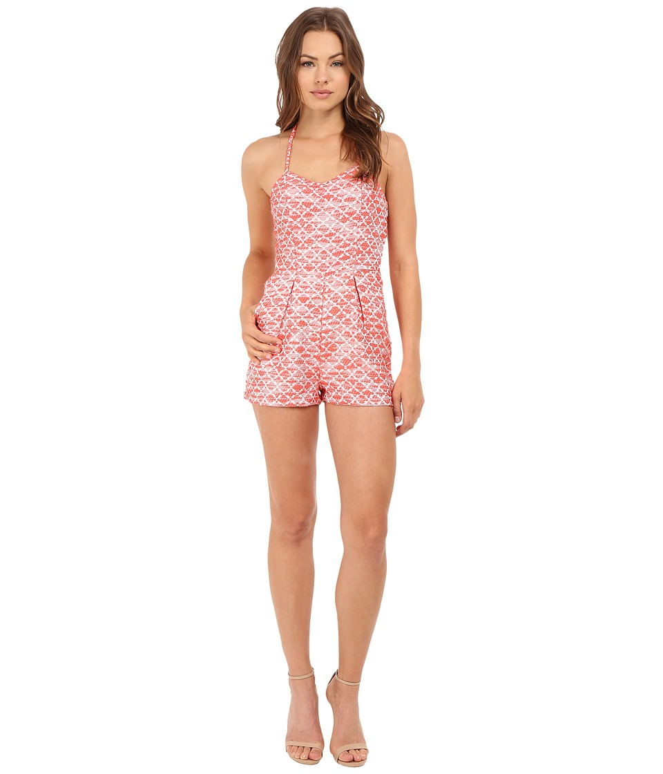 Jack by BB Dakota Adale Jacquard Halter Top Romper Hot Coral Womens Jumpsuit Rompers One Piece