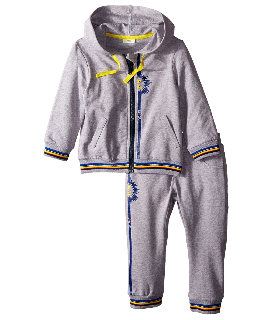 Fendi Kids Jogging Top Pants Set w/ Monster Detail Infant Grey Boys Active Sets