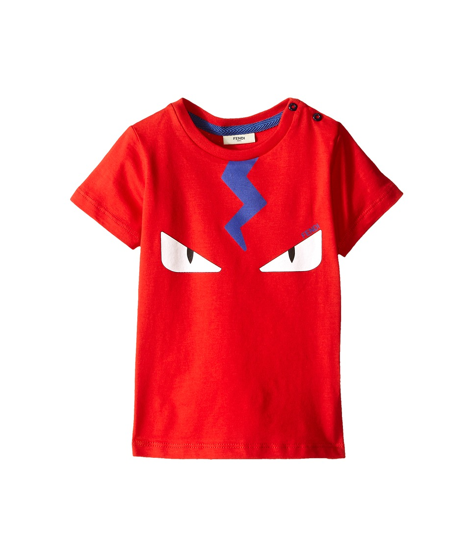 Fendi Kids Short Sleeve Tee with Eyes Infant Red Boys T Shirt