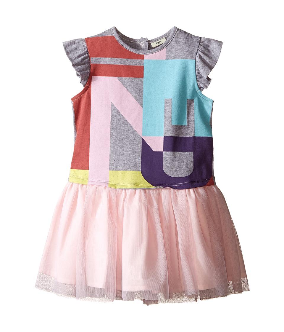 Fendi Kids Short Sleeve Dress w/ Graphic Logo Tulle Skirt Infant Grey Girls Dress