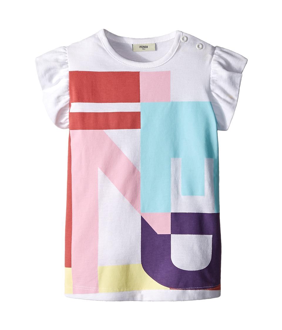 Fendi Kids Ruffle Sleeve Top w/ Graphic Logo Design Infant White Girls Clothing