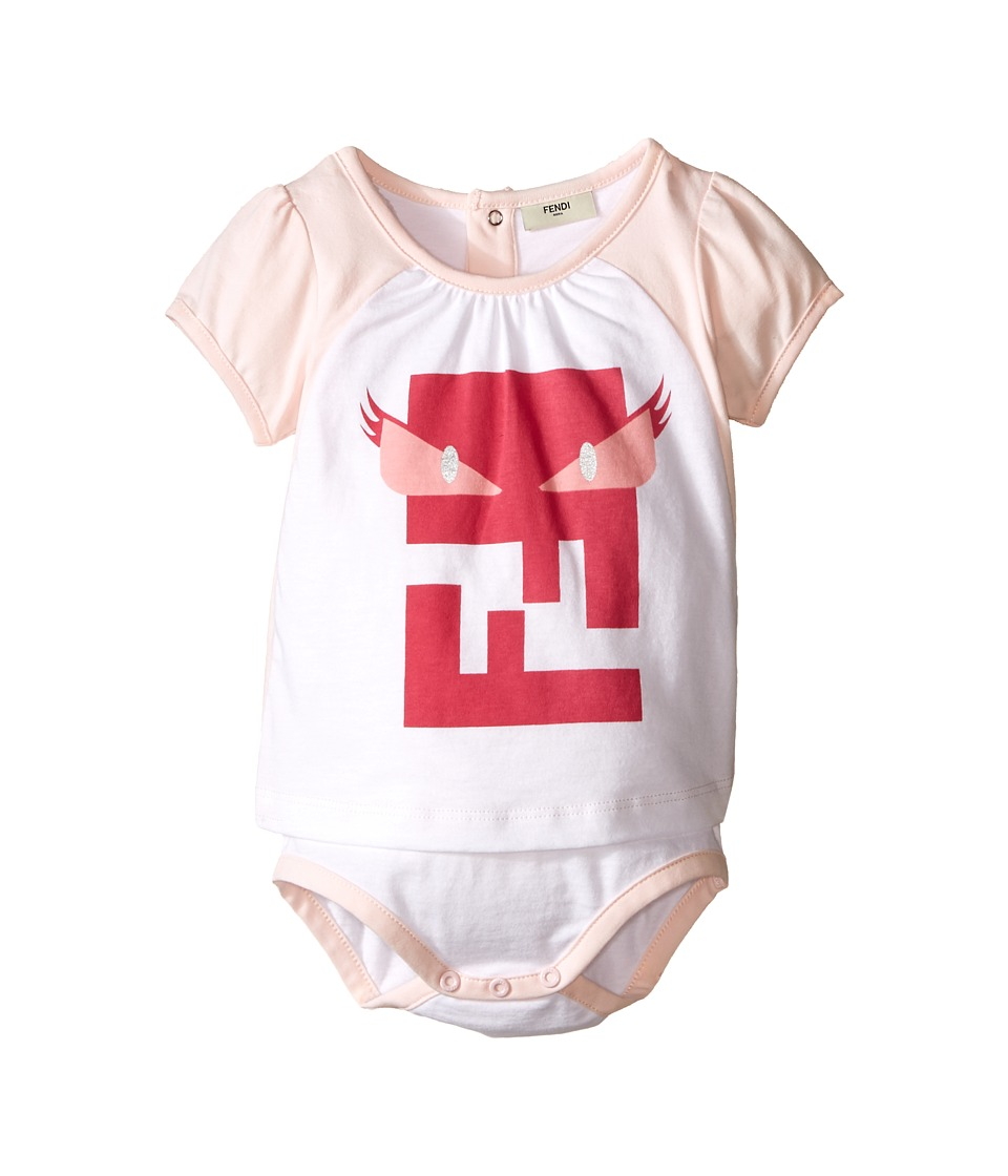 Fendi Kids Short Sleeve Body Tee with Monster Logo Infant White/Pink Girls Jumpsuit Rompers One Piece