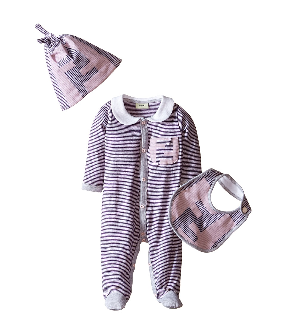 Fendi Kids Logo Stripe Footie Bib Hat Set Infant Pink Girls Jumpsuit Rompers One Piece