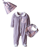 Fendi Kids - Logo & Stripe Footie Bib & Hat Set (Infant)