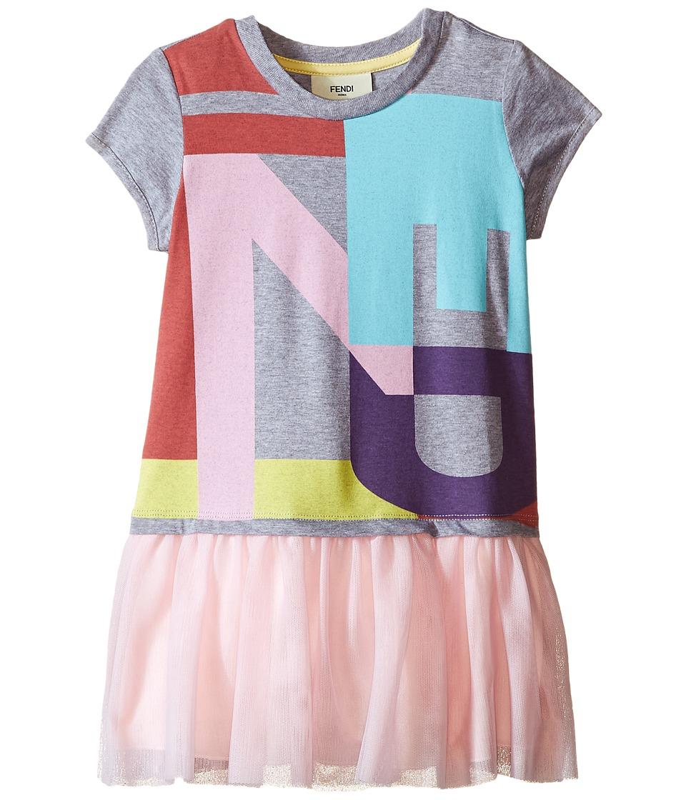 Fendi Kids Logo T Shirt Dress with Tulle Detail Toddler Grey Girls Dress