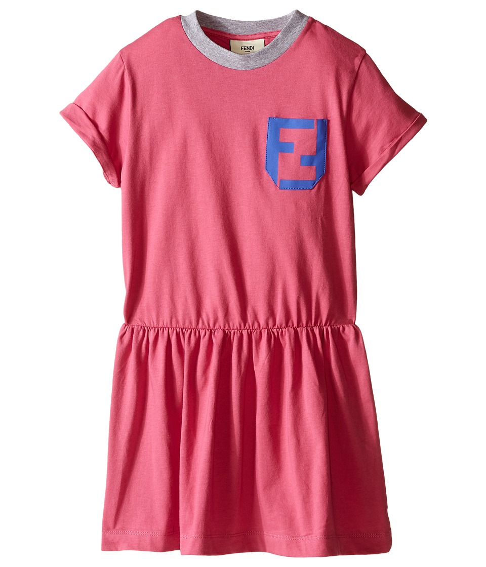 Fendi Kids Short Sleeve T Shirt Dress with Logo Detail Toddler Hot Pink Girls Dress