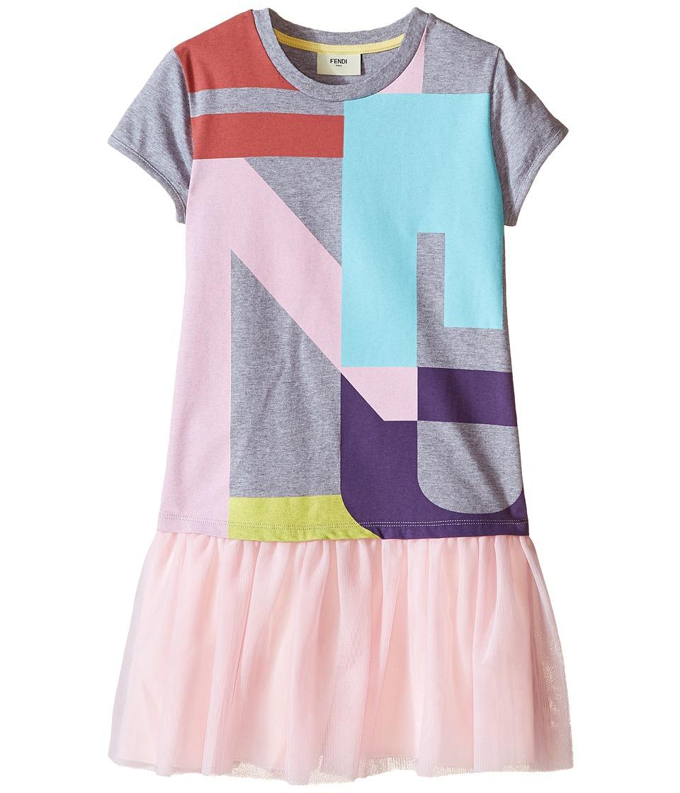 Fendi Kids Logo T Shirt Dress with Tulle Detail Little Kids Grey Girls Dress