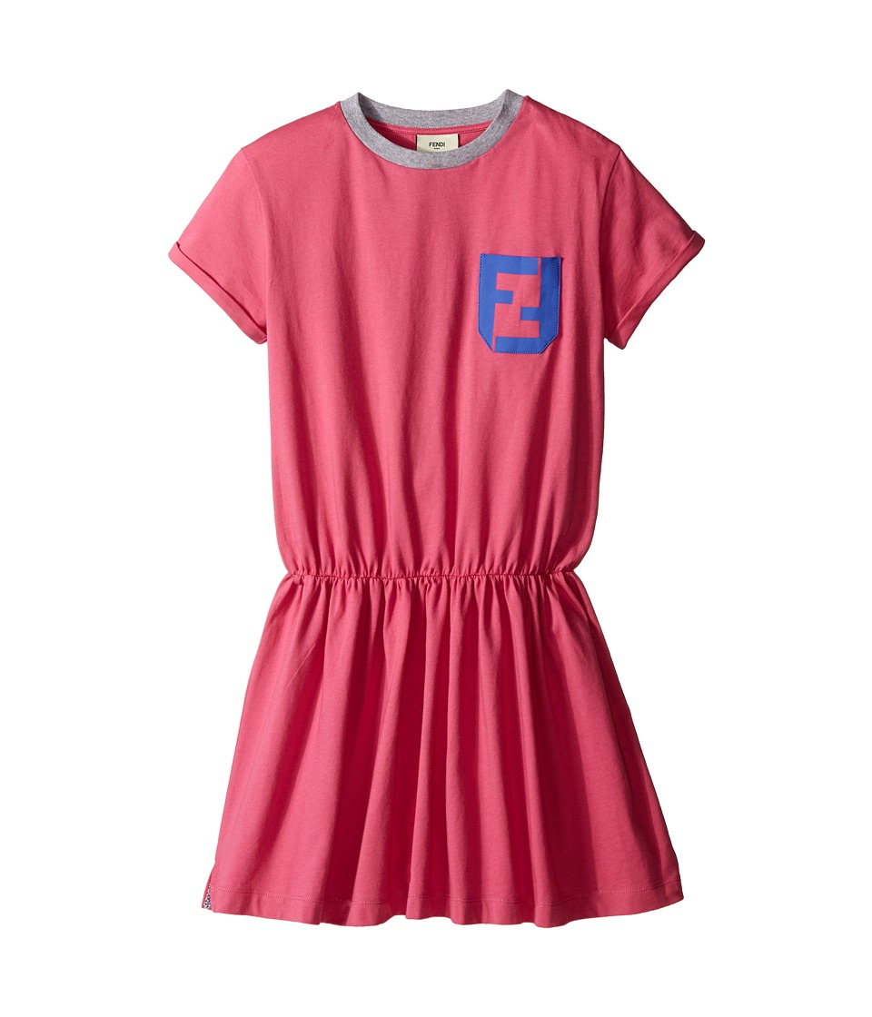 Fendi Kids Short Sleeve T Shirt Dress with Logo Detail Little Kids Hot Pink Girls Dress