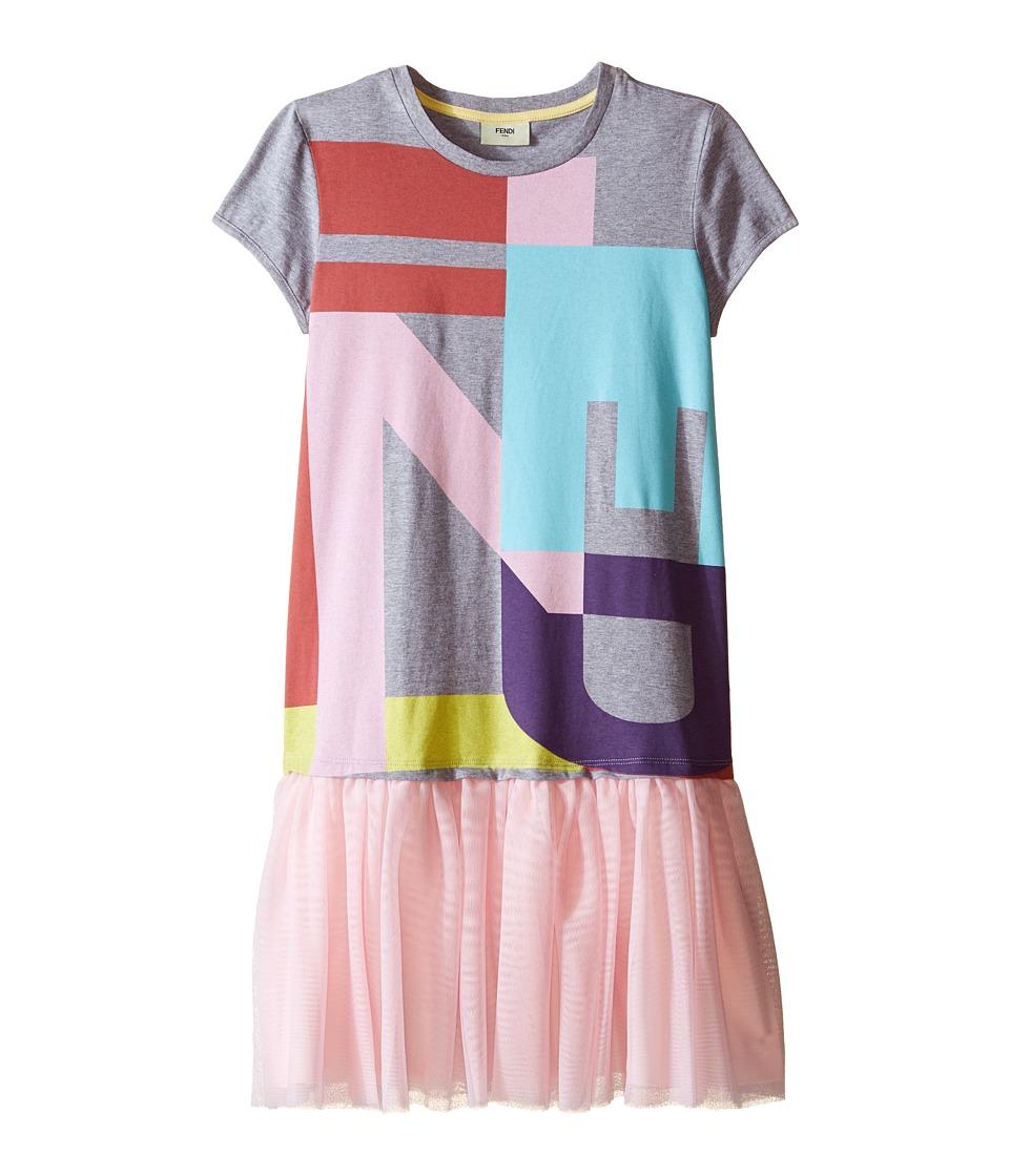 Fendi Kids Logo T Shirt Dress with Tulle Detail Big Kids Grey Girls Dress