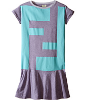 Fendi Kids - Short Sleeve Striped Dress with Logo Graphic (Big Kids)