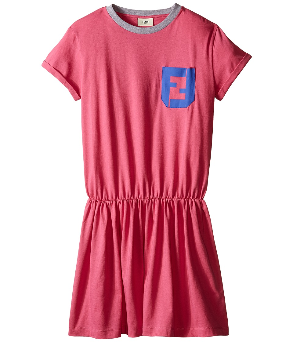 Fendi Kids Short Sleeve T Shirt Dress with Logo Detail Big Kids Hot Pink Girls Dress