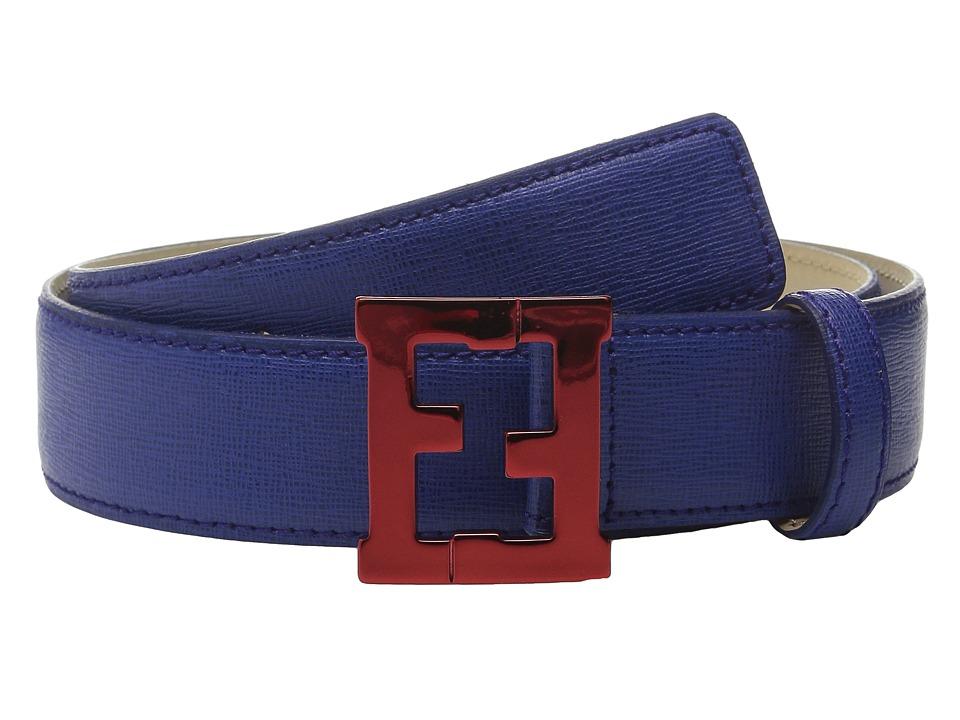 Fendi Kids Leather Belt w/ Metallic Logo Buckle Toddler/Little Kids/Big Kids Dark Blue Boys Belts