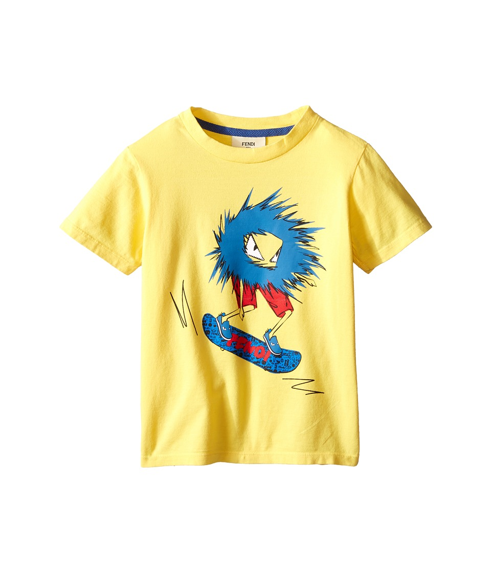 Fendi Kids Short Sleeve T Shirt with Fendi Skateboard Graphic Toddler Yellow Boys T Shirt