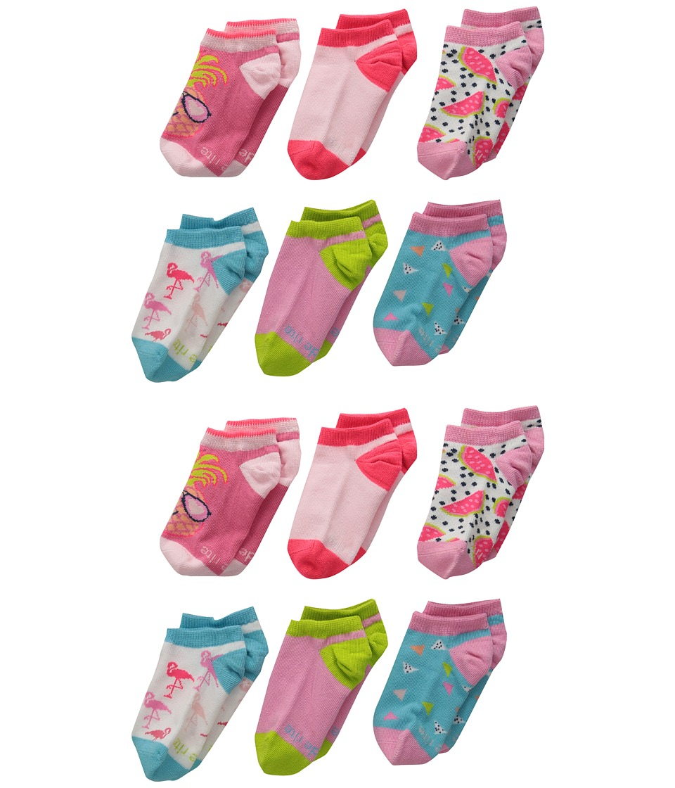 Stride Rite 12 Pack Tropical Tessa No Show with Seamless Toe Infant/Toddler/Little Kid/Big Kid Pink Girls Shoes