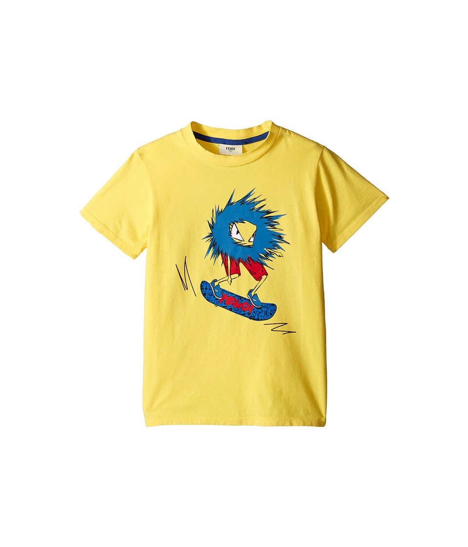 Fendi Kids Short Sleeve T Shirt with Fendi Skateboard Graphic Little Kids Yellow Boys Short Sleeve Pullover