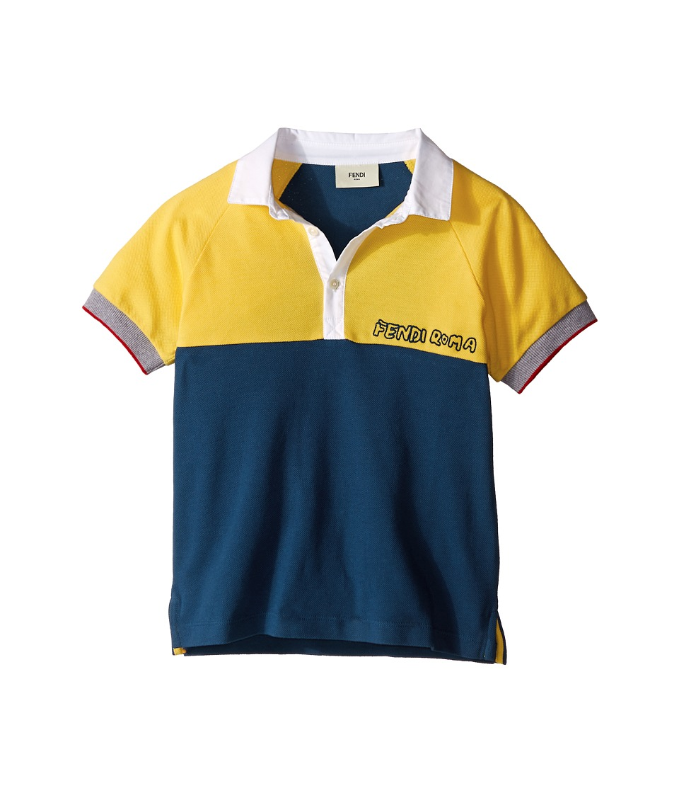 Fendi Kids Short Sleeve Two Tone Polo Shirt Little Kids Yellow/Blue Boys Clothing