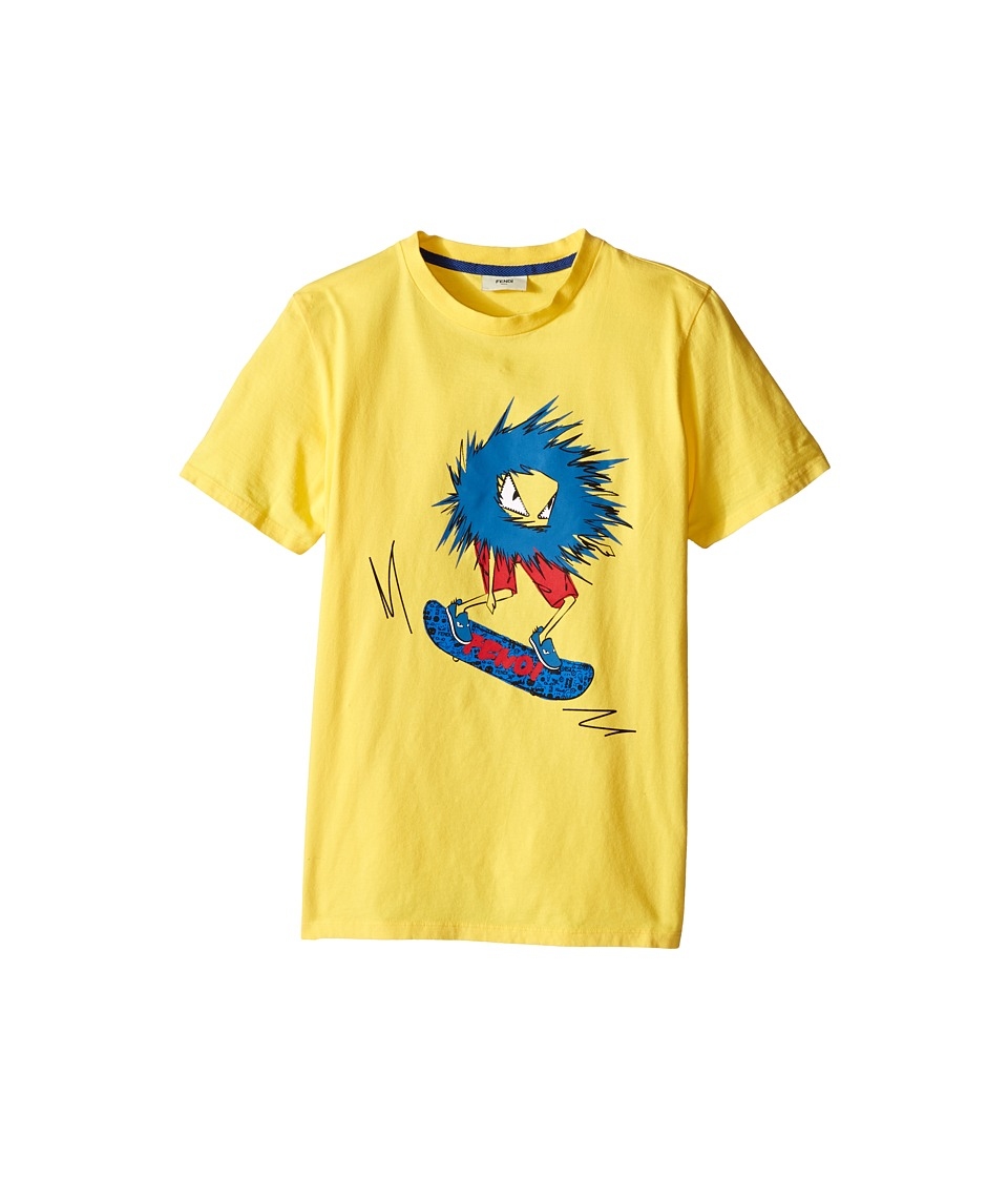 Fendi Kids Short Sleeve T Shirt with Fendi Skateboard Graphic Big Kids Yellow Boys Short Sleeve Pullover