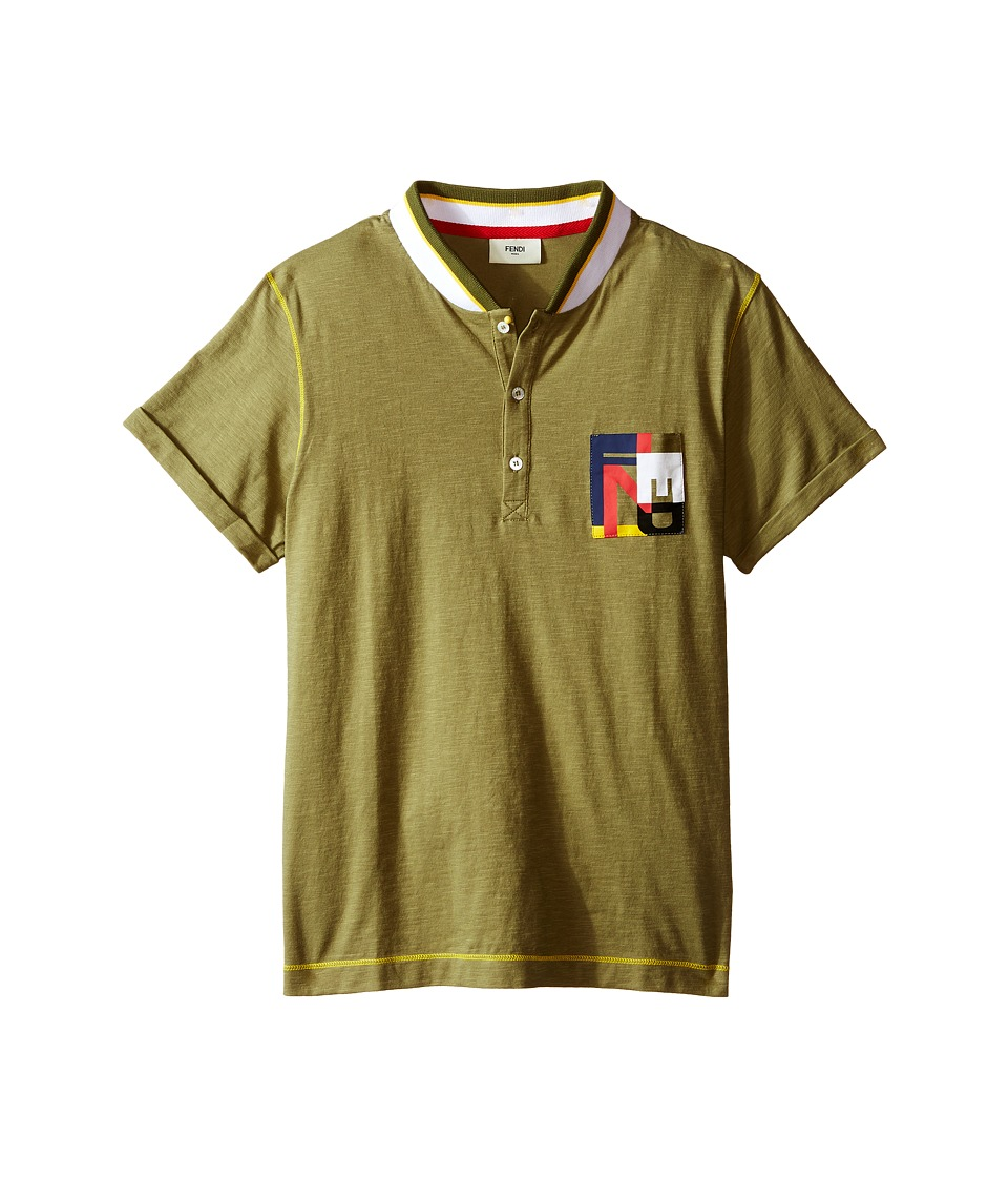 Fendi Kids Short Sleeve Polo T Shirt w/ Multicolor Logo Pocket Big Kids Olive Boys Short Sleeve Pullover