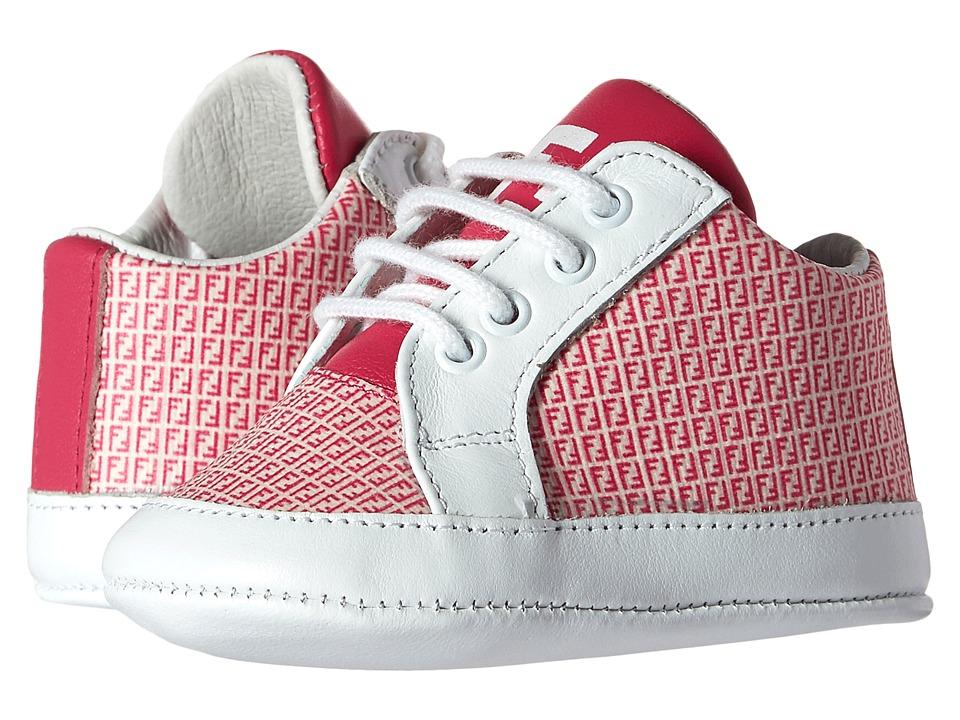 Fendi Kids Lace Up Crib Shoes w/ Logo Print Infant Pink/White Girls Shoes