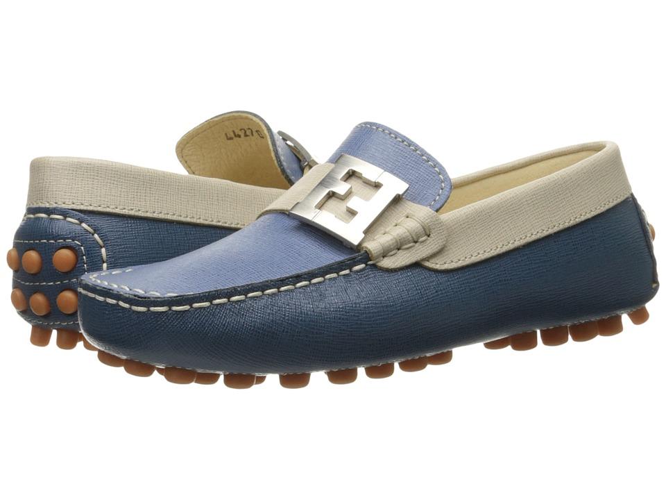 Fendi Kids Color Block Moccasins w/ Logo Detail Little Kid/Big Kid Blue/Multi Boys Shoes