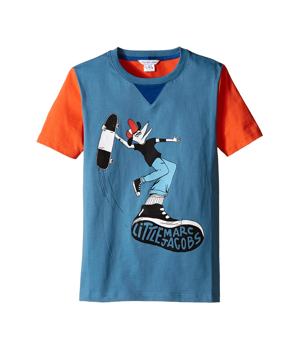 Little Marc Jacobs Jersey Tee Shirt Fancy Crocodile On Front Big Kids Blue/Red Boys T Shirt
