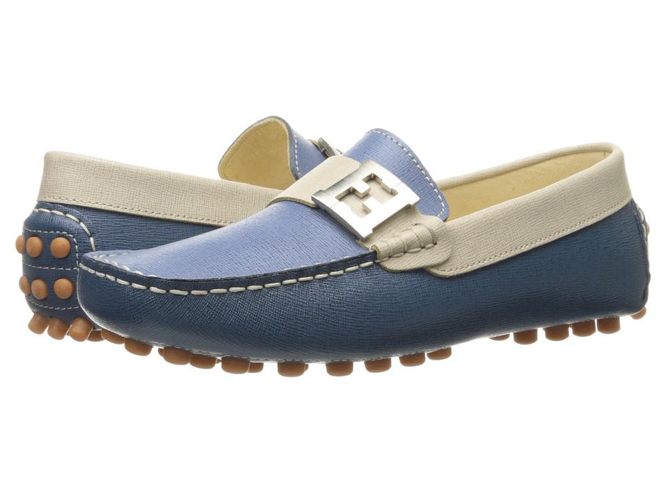 Fendi Kids Color Block Moccasins w/ Logo Detail Big Kid Blue/Multi Boys Shoes