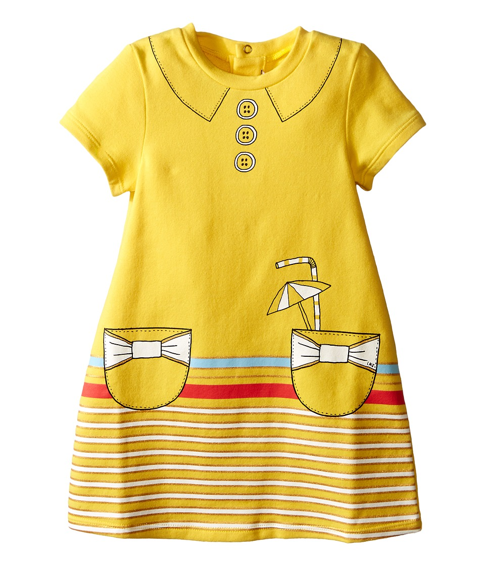 Little Marc Jacobs Dress with Fancy Illustrations Details Infant Yellow Girls Dress