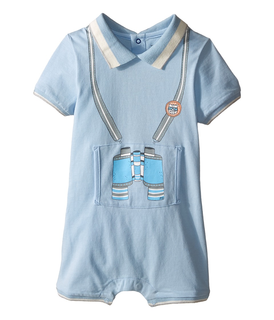 Little Marc Jacobs Jersey Overall Bodysuit with Illustration In Front Infant Light Blue Boys Jumpsuit Rompers One Piece