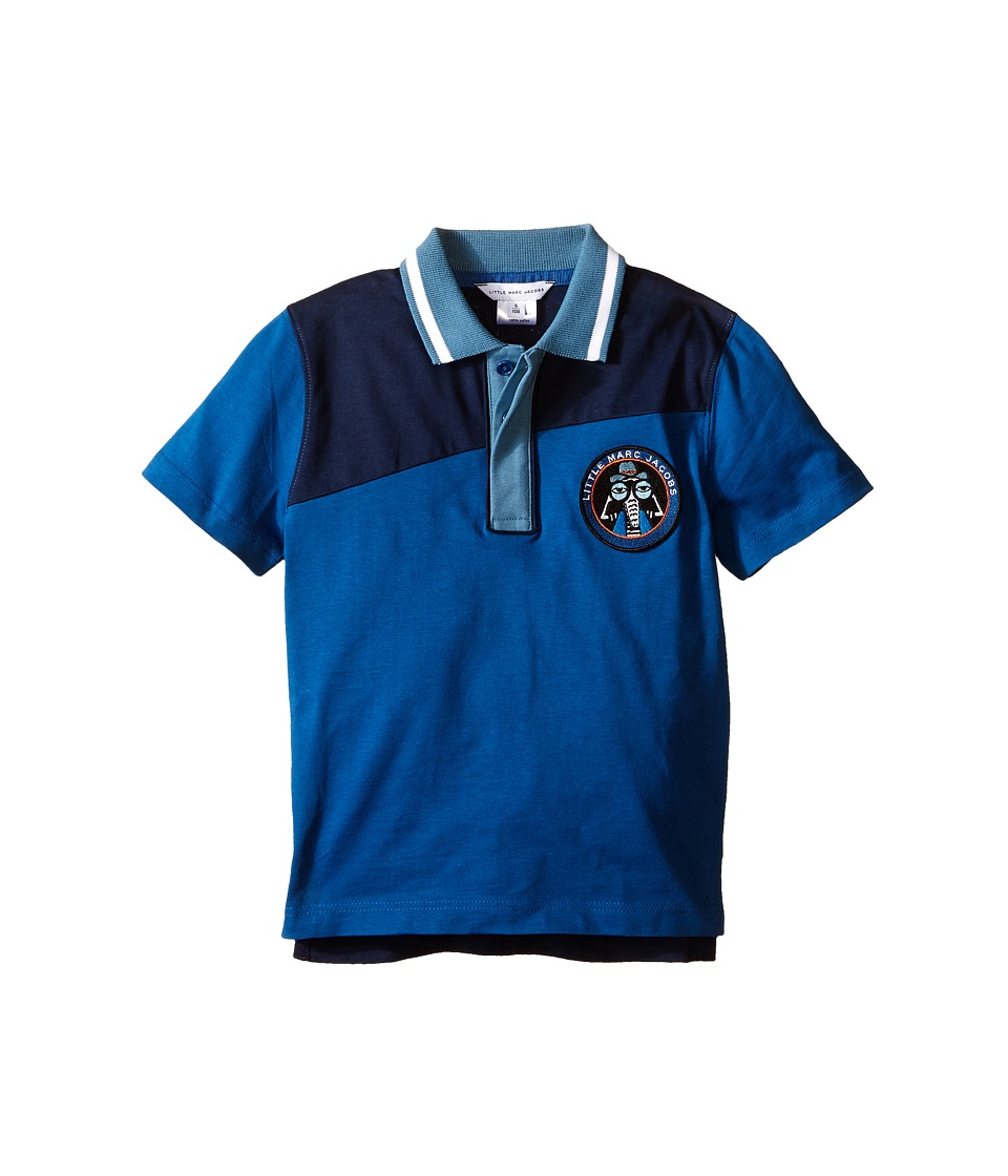 Little Marc Jacobs Jersey Polo Shirt Toddler/Little Kids Dark Blue Boys Short Sleeve Knit