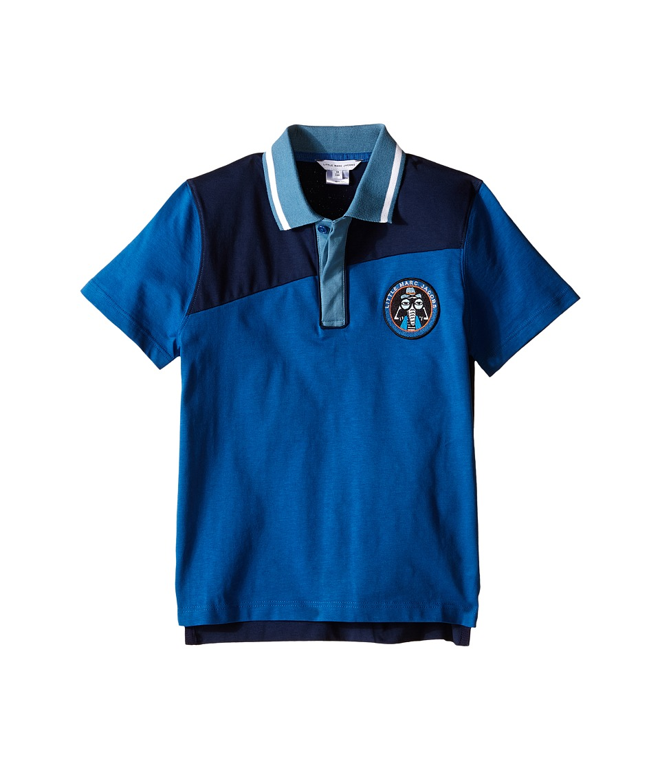 Little Marc Jacobs Jersey Polo Shirt Little Kids/Big Kids Dark Blue Boys Short Sleeve Knit