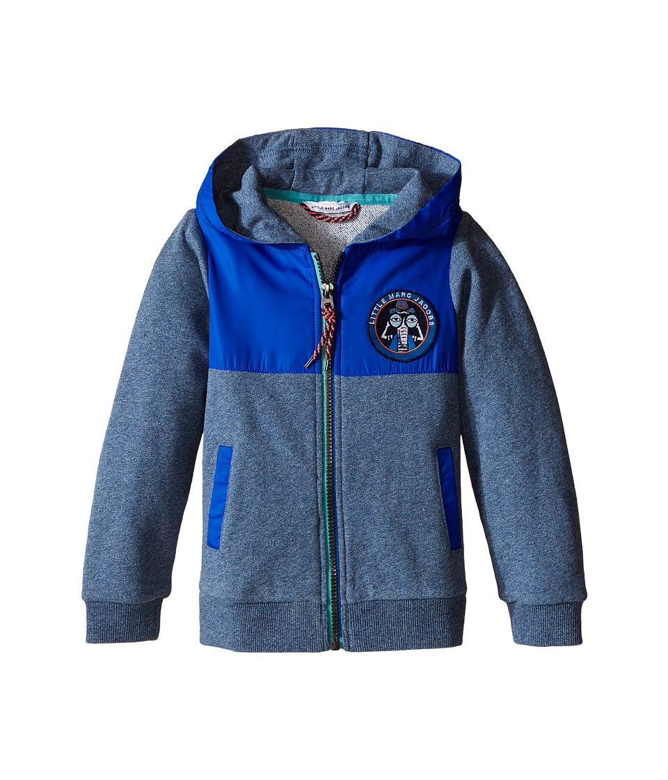 Little Marc Jacobs Fleece and Nylon Cardigan with Hood Toddler/Little Kids Medium Blue Boys Sweater