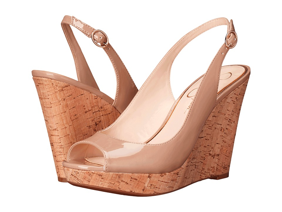 Jessica Simpson Jeniri Nude Patent Womens Wedge Shoes