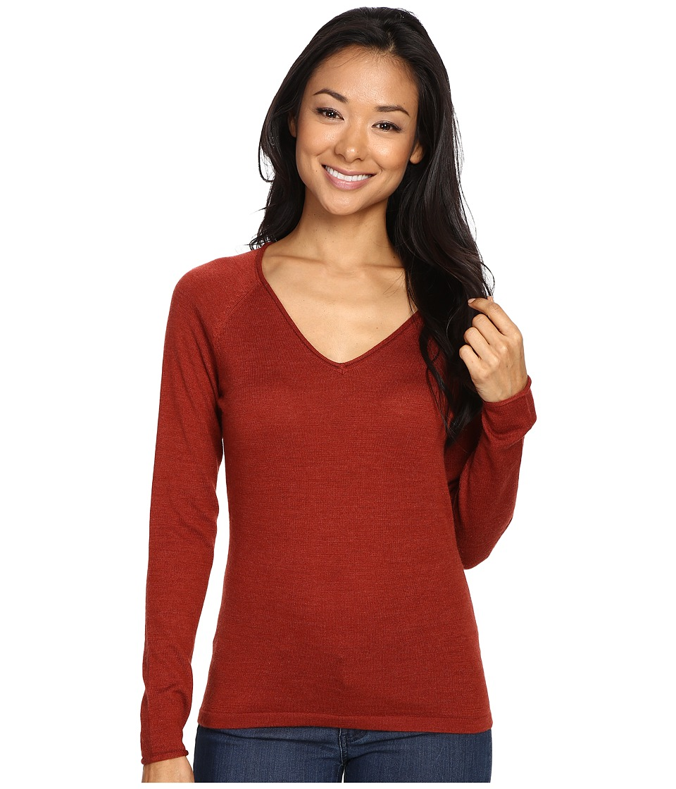 Smartwool Granite Falls V-Neck Top (Moab Rust Heather) Women