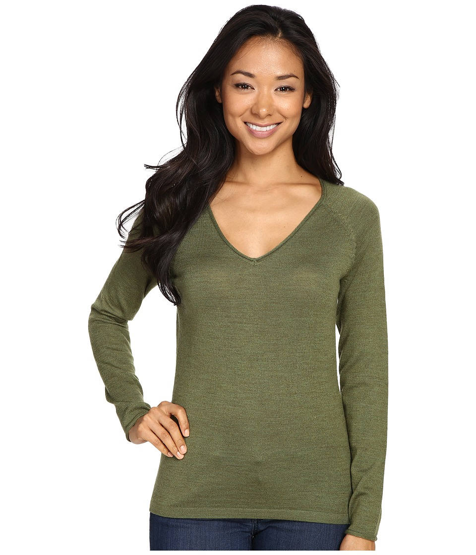Smartwool Granite Falls V-Neck Top (Light Loden Heather) Women