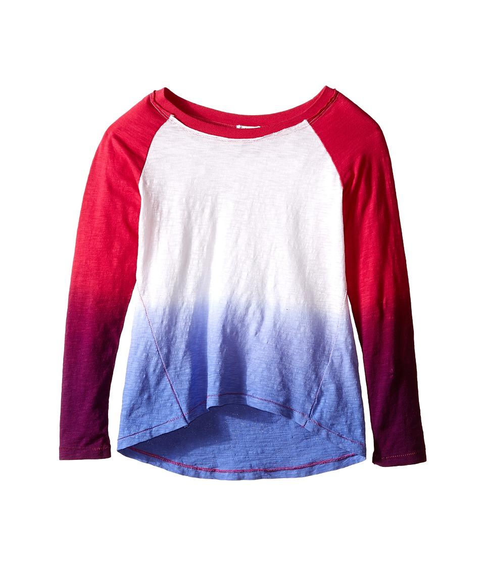 Splendid Littles Scoop Neck Dip Dye Top Big Kids Dark Pink Girls Clothing
