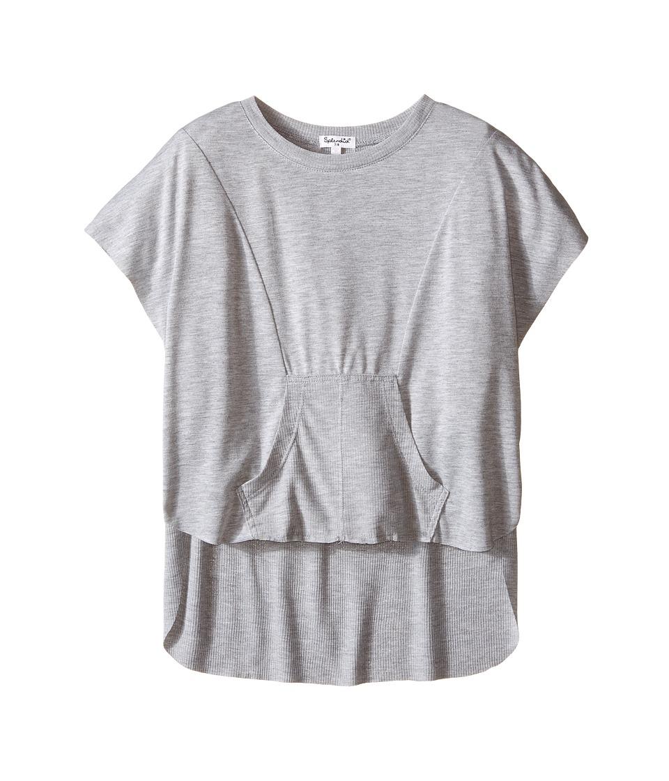 Splendid Littles Dolman Jersey and Rib Top Big Kids Heather Grey Girls Clothing