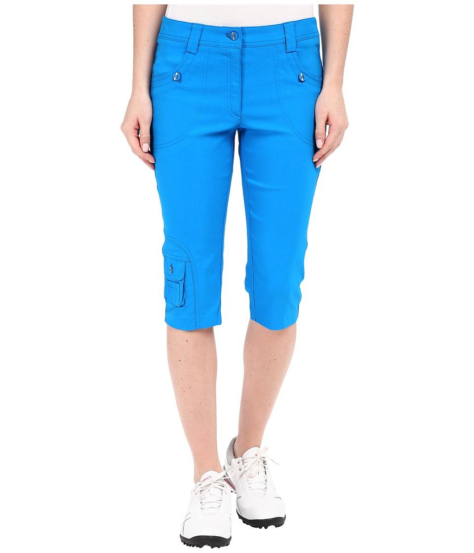 Jamie Sadock Fly Front 24 Knee Capris Blue Bayou Womens Capri