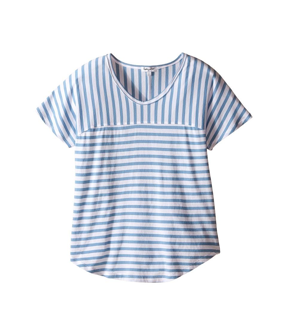 Splendid Littles Yarn Dye Short Sleeve Striped Top Big Kids Blue Girls Short Sleeve Pullover