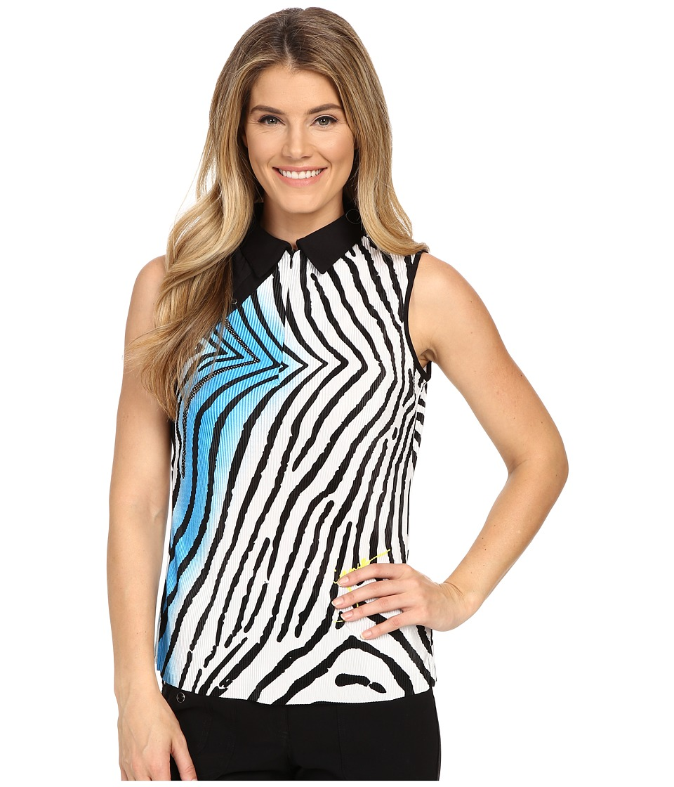 Jamie Sadock Blow Fish Print Crunchy Sleeveless Top Blue Bayou Womens Sleeveless
