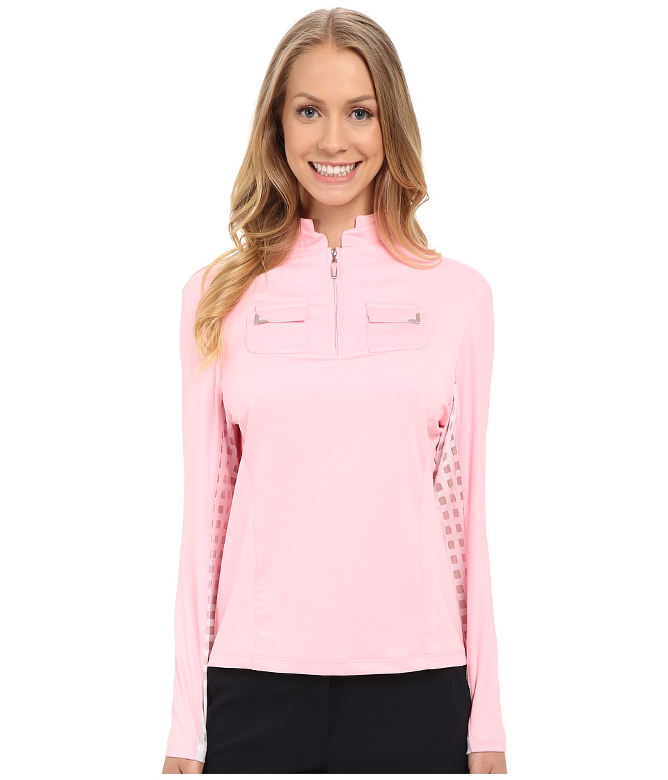Jamie Sadock Long Sleeve Top with Lace Mesh Panels Underarm Doll Face Pink Womens Long Sleeve Pullover