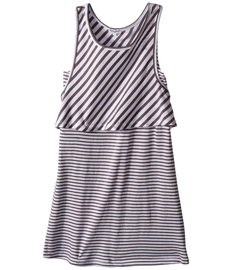 Splendid Littles Yarn Dye Striped Tank Dress Big Kids Dark Grey Girls Dress