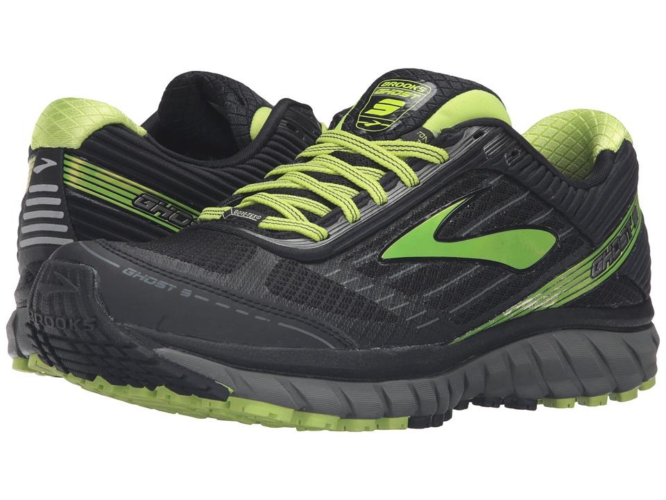 Brooks - Ghost 9 GTX (Black/Castlerock/Lime Punch) Mens Running Shoes