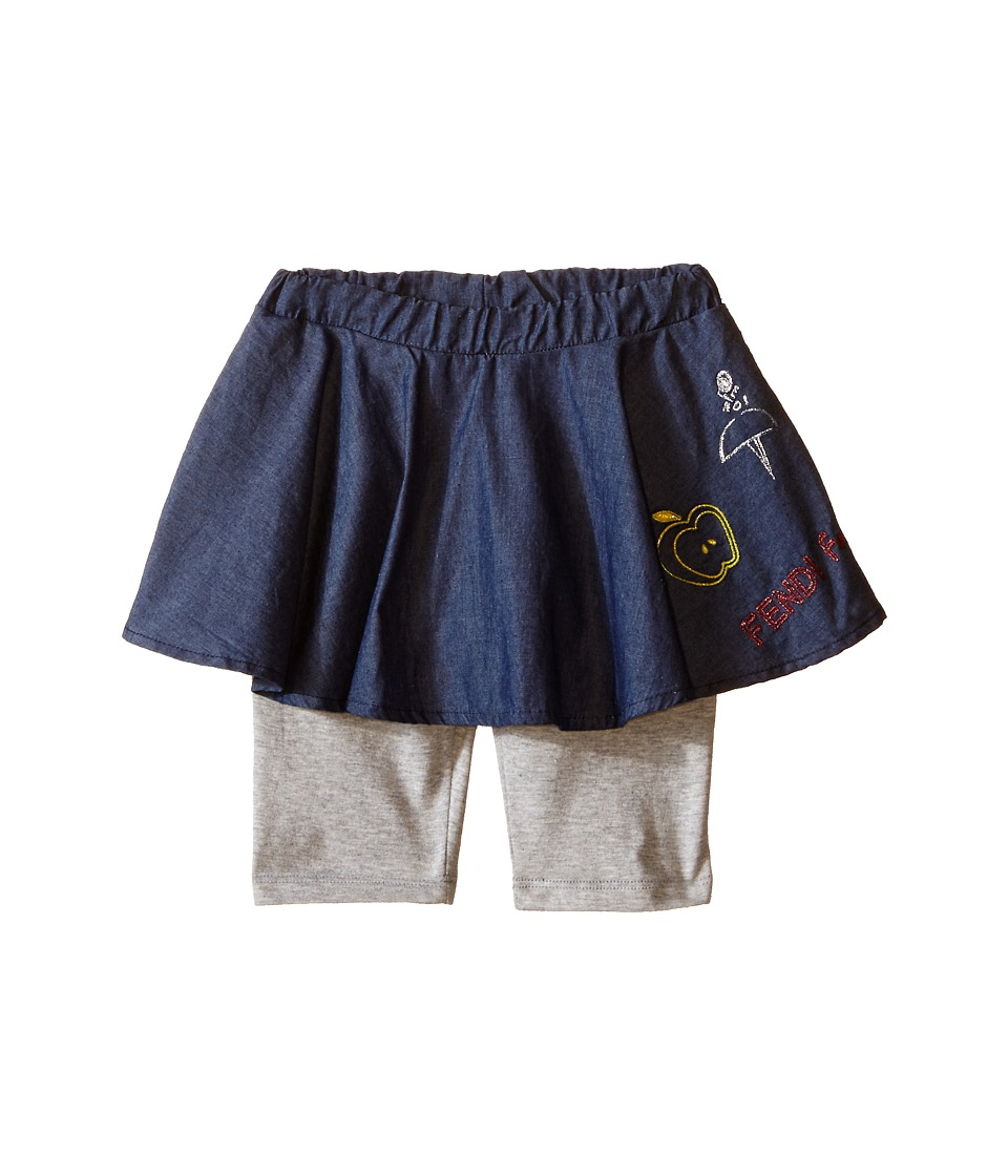Fendi Kids Tights with Chambray Skirt Overlay Infant Blue/Grey Girls Skort