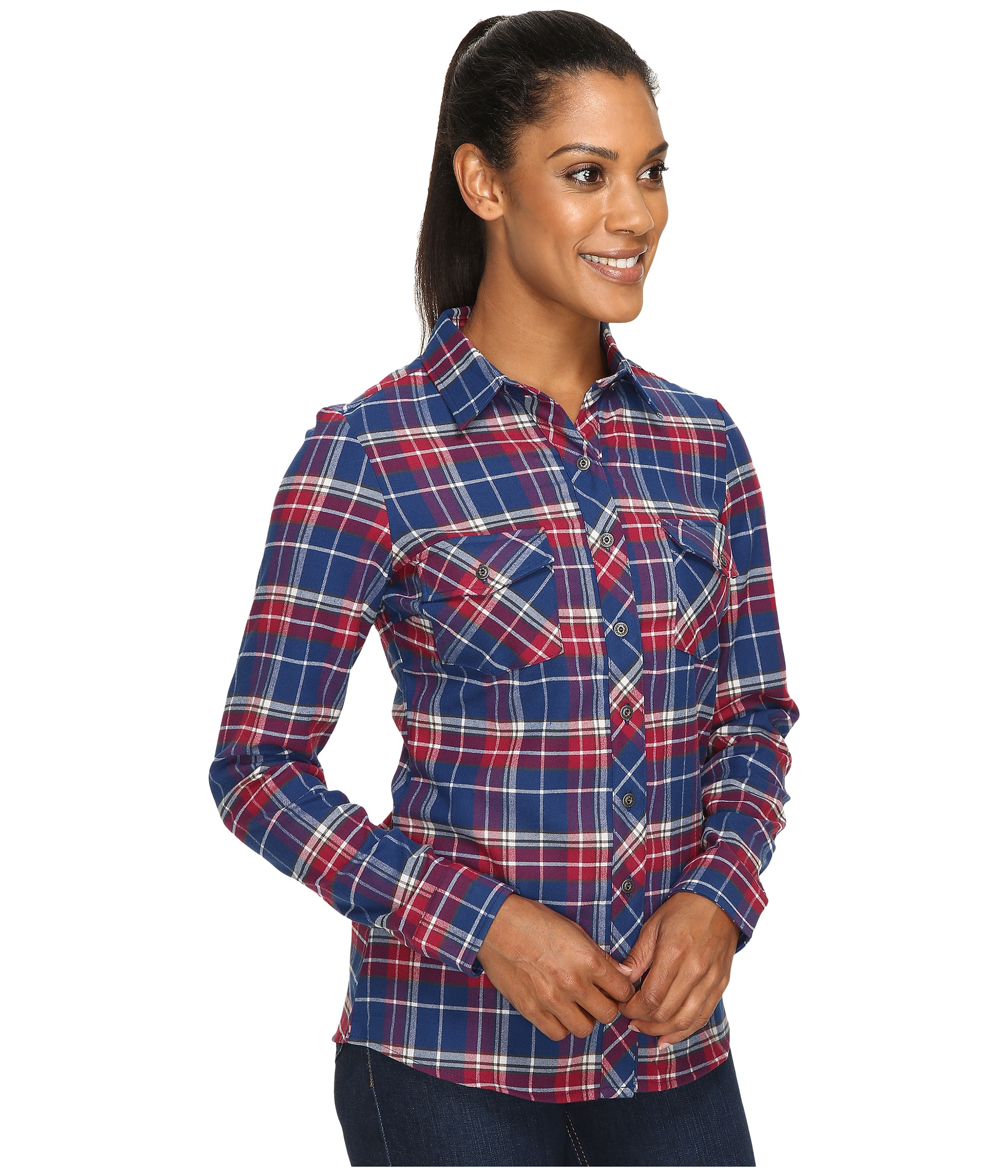 Kuhl alina flannel shirt free shipping both ways for Athletic cut flannel shirts
